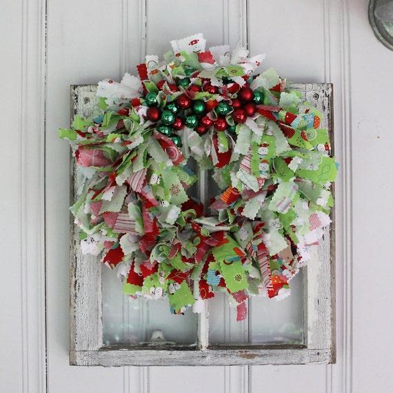 Colorful christmas rag wreath with riley blake fabric and