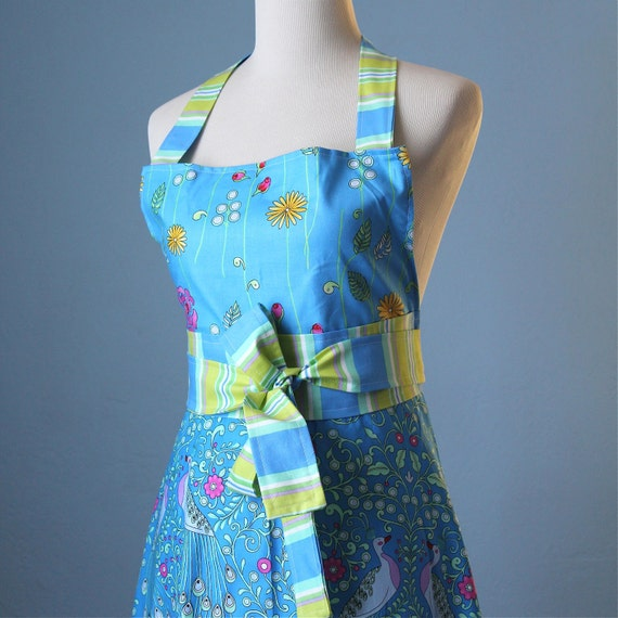 Blue Skies Floral Full Apron Hostess Entertaining with Dena Designs Fabric