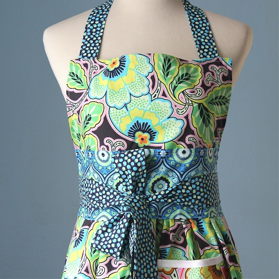 Summer Day Dreaming Full Apron with Bold Floral Amy Butler Fabric Front Pocket