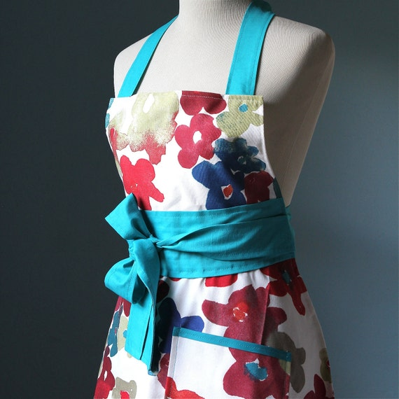 Full Apron with watercolor floral print for Women with IKEA Fabric