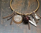 Valley of the Lionhearted. Upcycled Vintage Bangle Charm Bracelet.