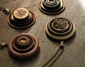 The Parlor Pendants. Vintage Button and Antiqued Brass Necklaces.