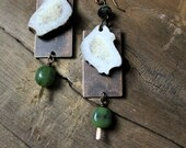 Firstling and the Fawn. Antler and Jade Earrings.