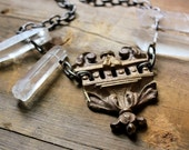 Reserved : Ruins. Quartz Crystal and Antique Brass Necklace.