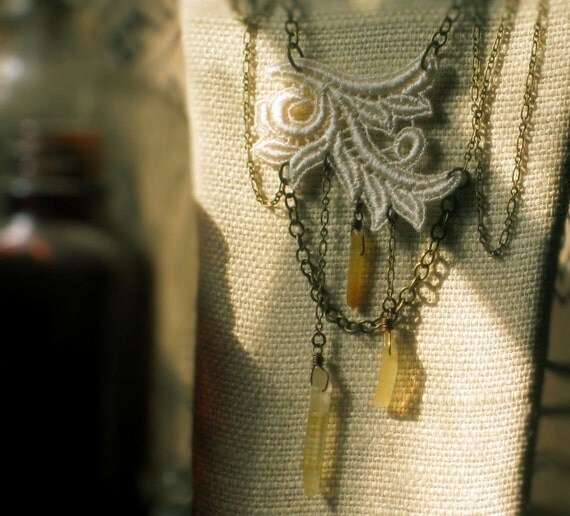 Honeysuckle and Rye. Vintage Lace and Agate Necklace.