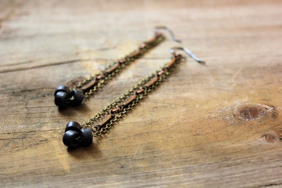 Earthly : Stone. Ceramic and Brass Earrings.