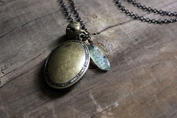 Locket of Hierophant. Antiqued Brass Perfume Locket Necklace.