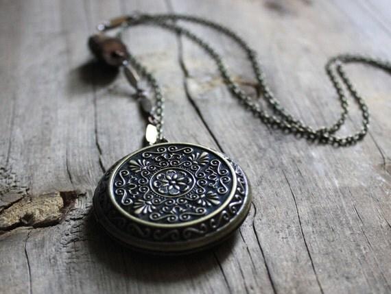 Locket of Widdershins. Antiqued Brass Perfume Locket Necklace.