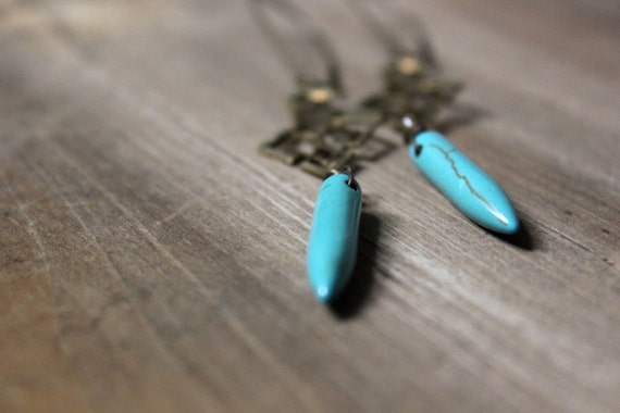 Avelin. Turquoise Magnesite Spear and Vintage Brass Earrings.