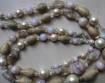 Vintage Beige Brown Bead Necklace