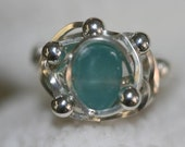 FABULOUS Aqua Sea Glass sterling wire wrapped ring