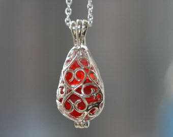EXTREMELY RARE RUBY RED genuine beach sea glass filigree locket pendant and chain