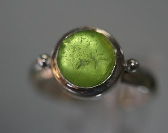 Lime green Sea beach glass ring and antique 925 sterling