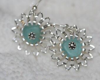 genuine aquar sea  beach glass filigree flower earrings