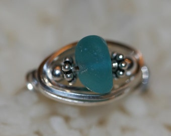 AQUA  sea glass beach glass ring wire wrapped in 925 sterling silver  ORIGINAL DESIGN