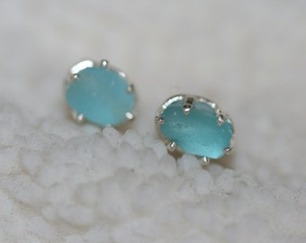RARE  AQUA beach sea glass 925 sterling silver  studs post earrings