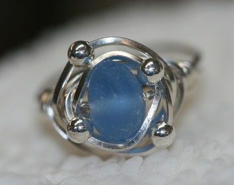 FABULOUS cornflower blue Sea Glass sterling wire wrapped ring