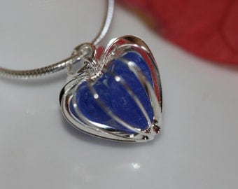 Genuine cobalt blue sea glass beach glass heart necklace