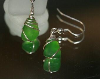 Lime green- sea glass beach glass earrings