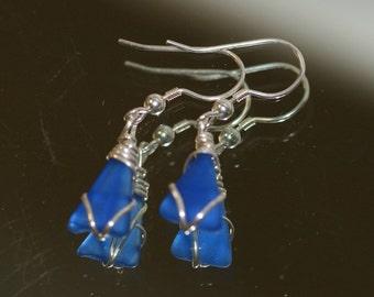 cobalt blue sea glass beach glass earrings