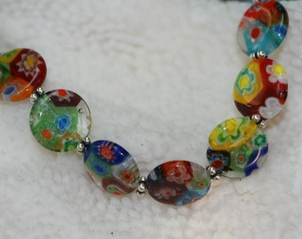 Millefiori Glass Necklace and Sterling Silver Spacers