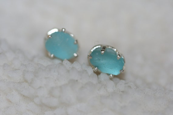 RARE  AQUA beach sea glass 925 sterling silver  studs post earrings