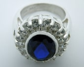 Blue spinel wreathed ring in sterling silver OOAK