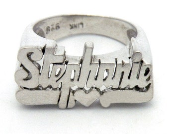 Stephanie - name ring in sterling silver
