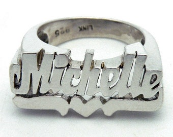 Michelle - name ring in sterling silver