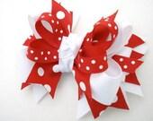 M2M M2MG Polka Dot Ladybug Layered Boutique Bow, No Slip Hair Clip