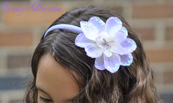 SO SWEET LAVENDER Sequin Flower Toddler Girl Headband