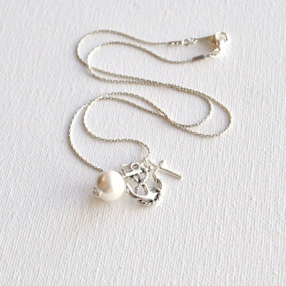 Anchor, Pearl, and Cross - A Sailor's Wife Necklace