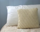 """New - Textured Cable Knit Pillow Sham Wool 20"""""""