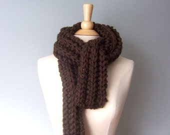 Brown Knit Chunky Scarf - Knitted Scarf - Chunky Knit Scarf - Mens Scarf - Bulky Scarf - Long Knitted Scarf -  Women's Scarf- Winter Scarf