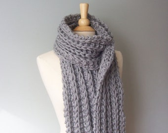 Knit Scarf Pattern- Chunky Scarf Pattern- Easy Knit Pattern- Womens Scarf Pattern- Winter Scarf Pattern-  Beginner Knitting Pattern- Scarf