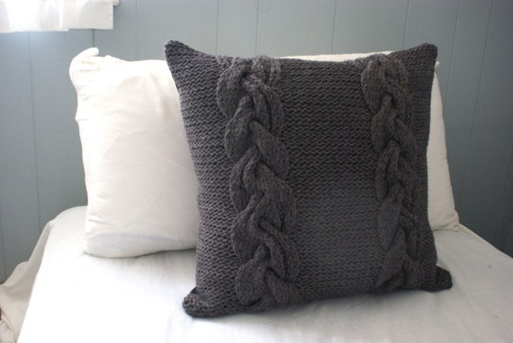 Braided Knit Pillow Sham in Dark Gray, Sweater Pillow, Throw Pillow, Knit Pillow, Knit Home Decor