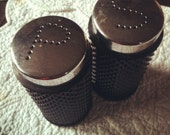 Retro black plastic salt & pepper shakers