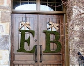 Moss Covered 24 Inch Church Door Wedding Initials Letters Monogram Wreath (SET OF 2)