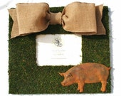 Moss Covered 12x14 picture frame with rusty tin pig
