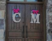 12 inch Paper Flower Wedding Initial Door Wreath (Set of Two)