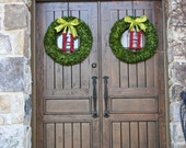 2-24 inch Boxwood Wreath with Holly Berry Initial Door Wedding Wreath