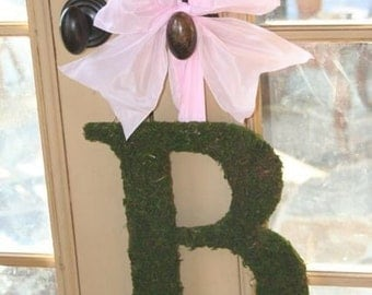 Moss covered 12 inch Monogram Nursery Wedding Wall Initial Letter