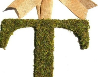 Country French Moss Covered 12 inch Initial with Burlap Bow