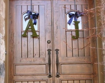 Moss Covered 12 inch Wedding Church Door Initials Monogram Letters (SET OF 2)