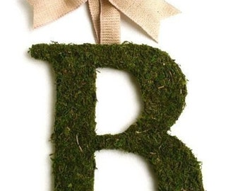 Moss Covered 14 Inch WEDDING Initial letter Monogram Door Wreath