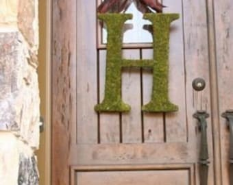 Moss Covered 18 inch  Wedding Church Door Letter Initial Monogram Wreath