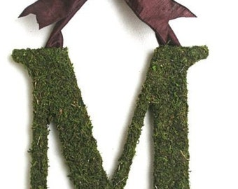 Moss Covered 12 inch Wedding Church Door Initials Monogram Letters Wreath