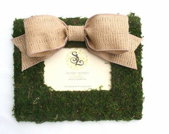 Country French Moss Covered 4x6 Medium Frame with Burlap Bow