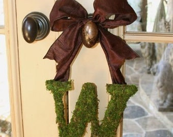 Moss Covered 8 Inch WEDDING Initial letter Monogram Door Wreath