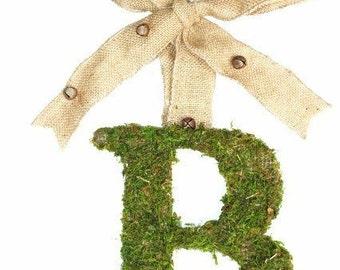 Moss Covered 6 inch Initial Letter Monogram Wedding Door Chair wreath